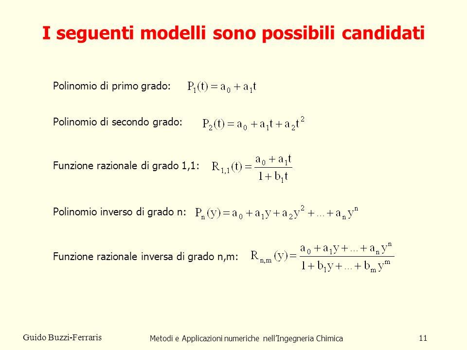 I seguenti modelli sono possibili candidati