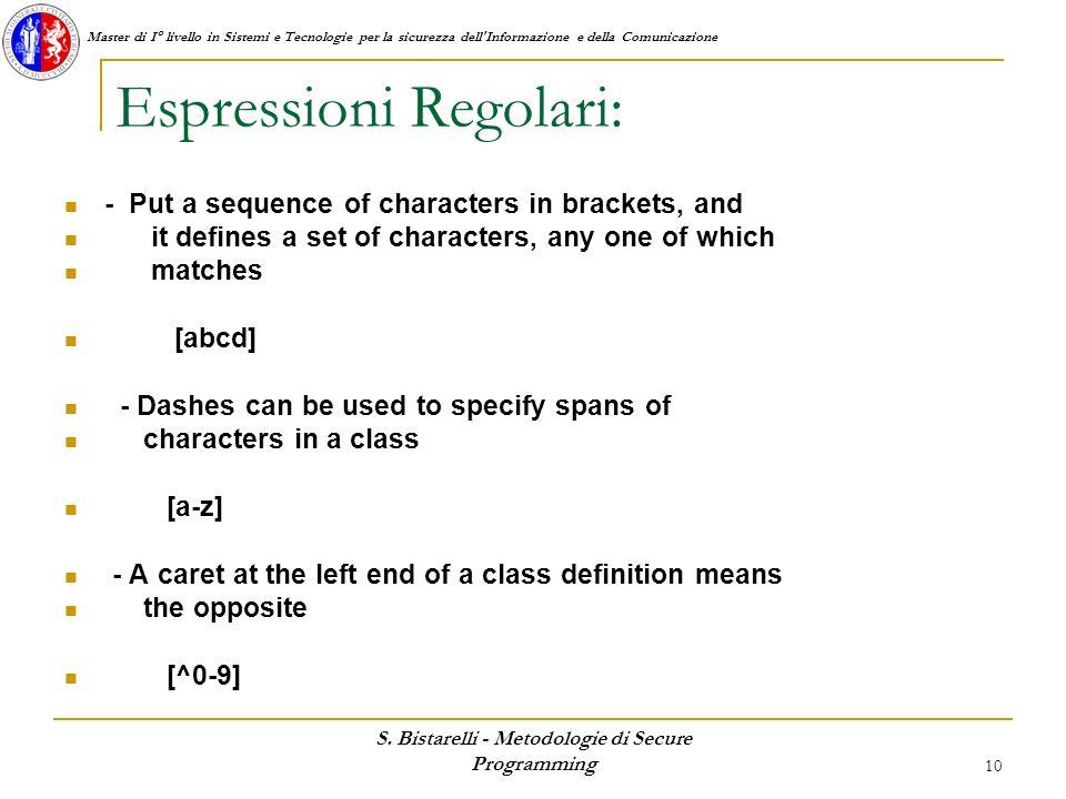 Espressioni Regolari: