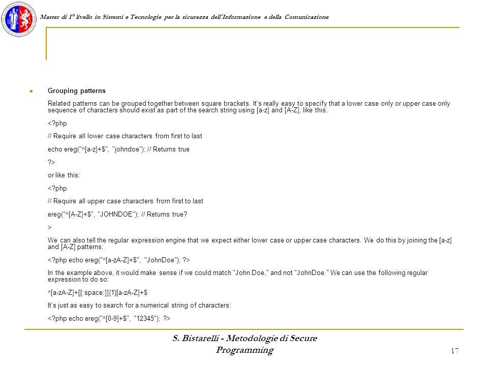 S. Bistarelli - Metodologie di Secure Programming
