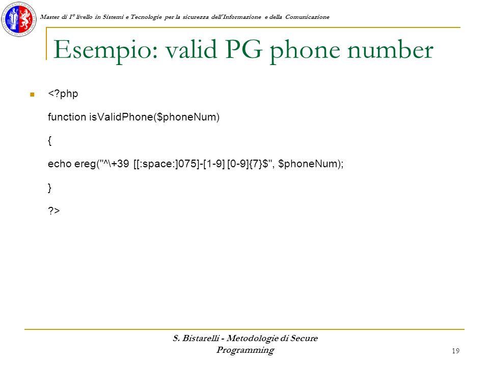 Esempio: valid PG phone number