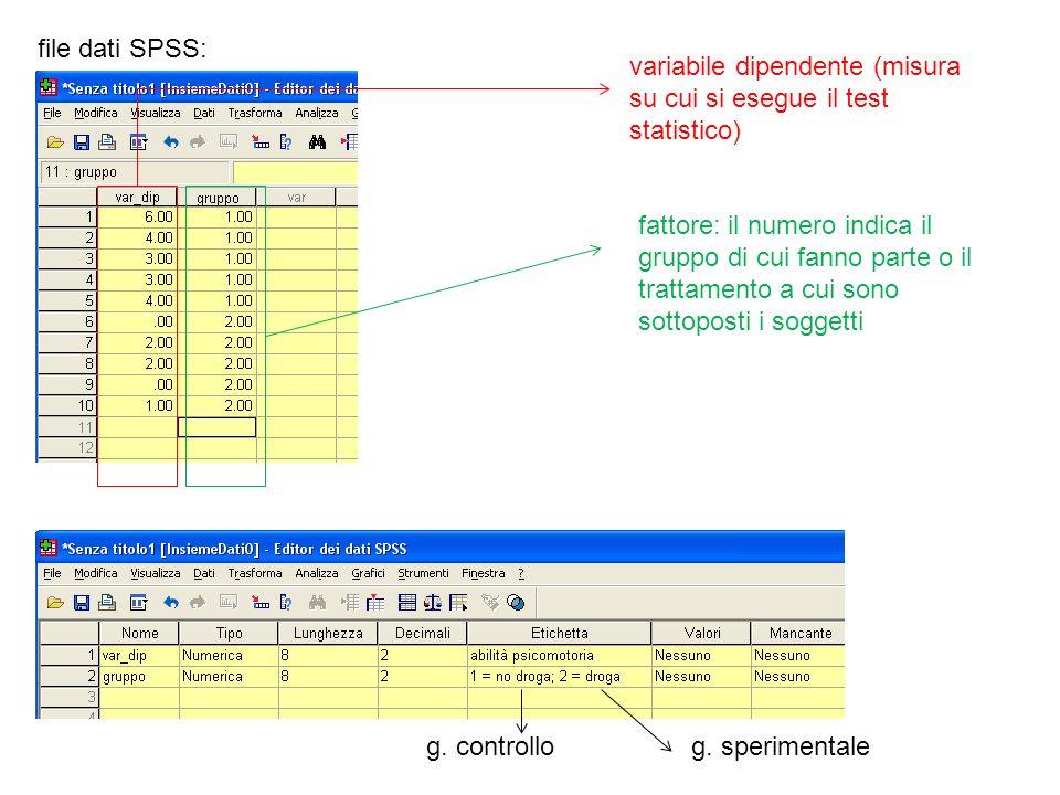 file dati SPSS:variabile dipendente (misura su cui si esegue il test statistico)