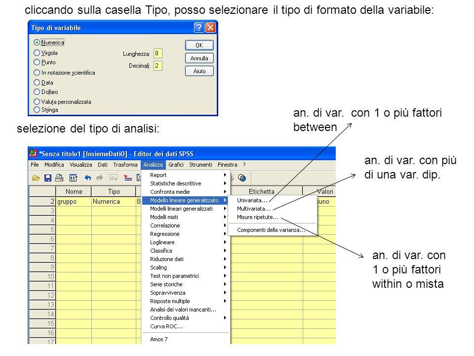 cliccando sulla casella Tipo, posso selezionare il tipo di formato della variabile: