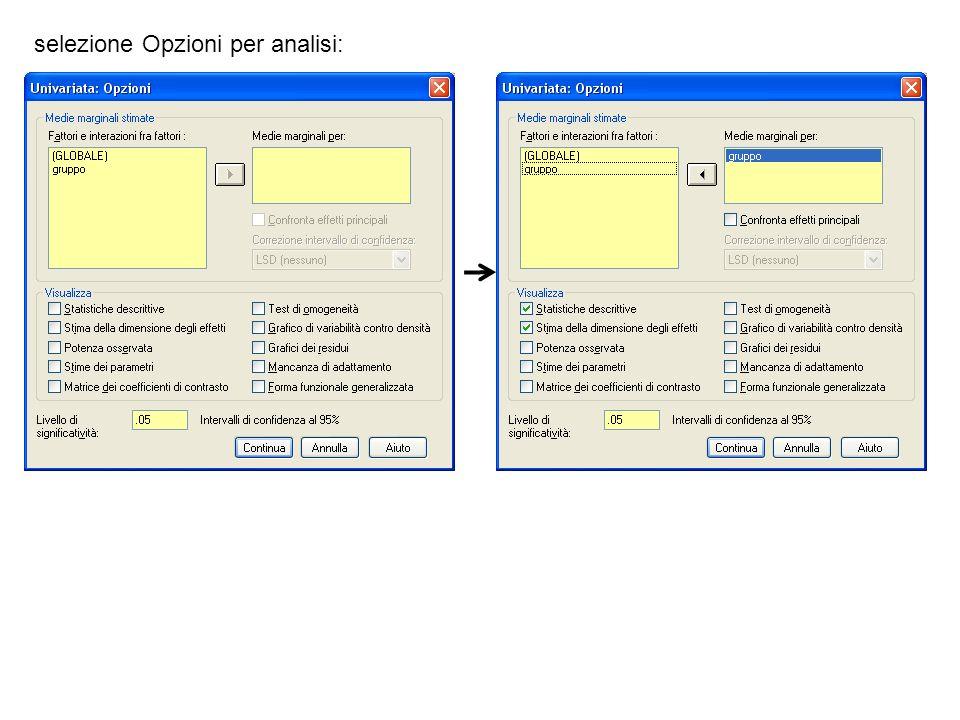 selezione Opzioni per analisi: