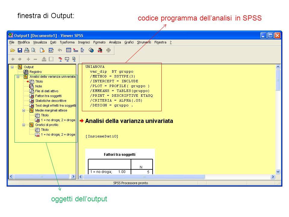 finestra di Output: codice programma dell'analisi in SPSS oggetti dell'output