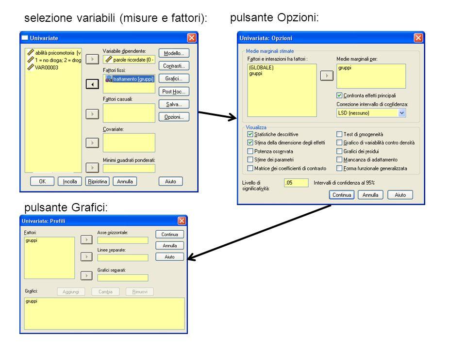 selezione variabili (misure e fattori):