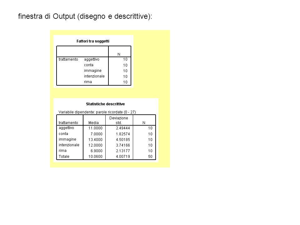 finestra di Output (disegno e descrittive):