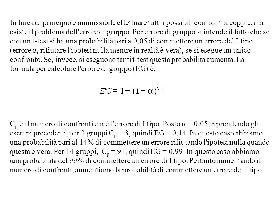 In linea di principio è ammissibile effettuare tutti i possibili confronti a coppie, ma esiste il problema dell errore di gruppo. Per errore di gruppo si intende il fatto che se con un t-test si ha una probabilità pari a 0,05 di commettere un errore del I tipo (errore α, rifiutare l ipotesi nulla mentre in realtà è vera), se si esegue un unico confronto. Se, invece, si eseguono tanti t-test questa probabilità aumenta. La formula per calcolare l errore di gruppo (EG) è: