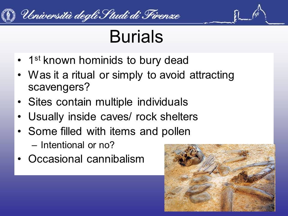 Burials 1st known hominids to bury dead