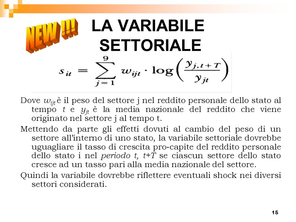 LA VARIABILE SETTORIALE