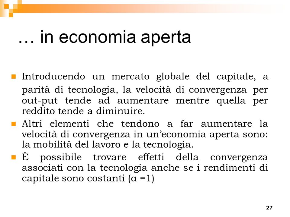 … in economia aperta