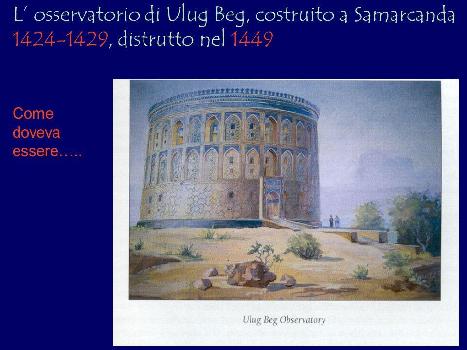 L' osservatorio di Ulug Beg, costruito a Samarcanda 1424-1429, distrutto nel 1449