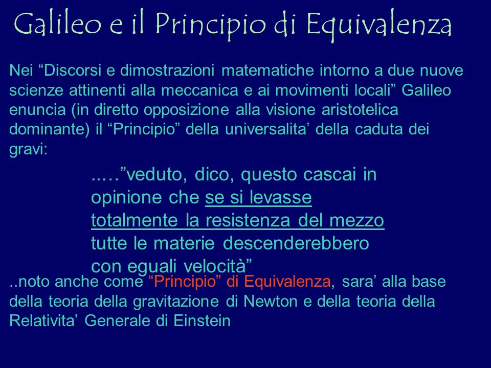 Galileo e il Principio di Equivalenza