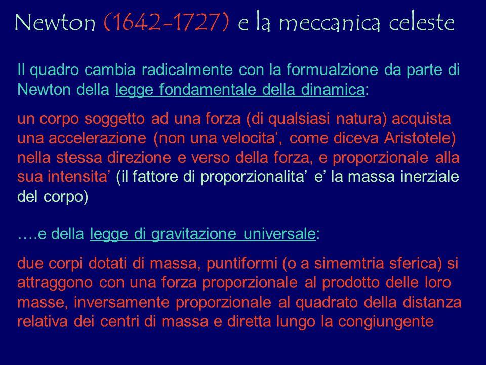Newton (1642-1727) e la meccanica celeste