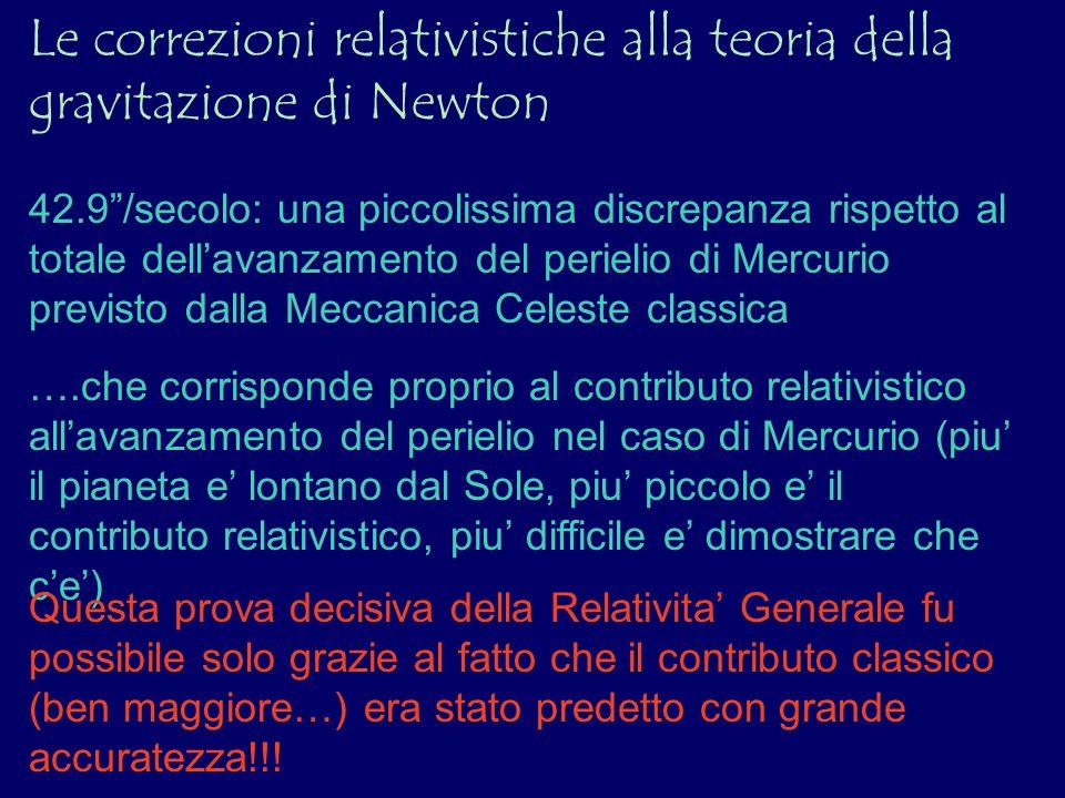 Le correzioni relativistiche alla teoria della gravitazione di Newton