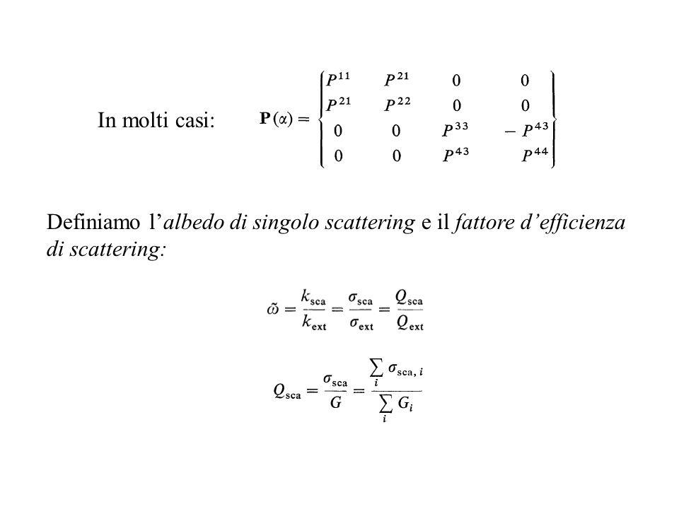 In molti casi: Definiamo l'albedo di singolo scattering e il fattore d'efficienza di scattering: