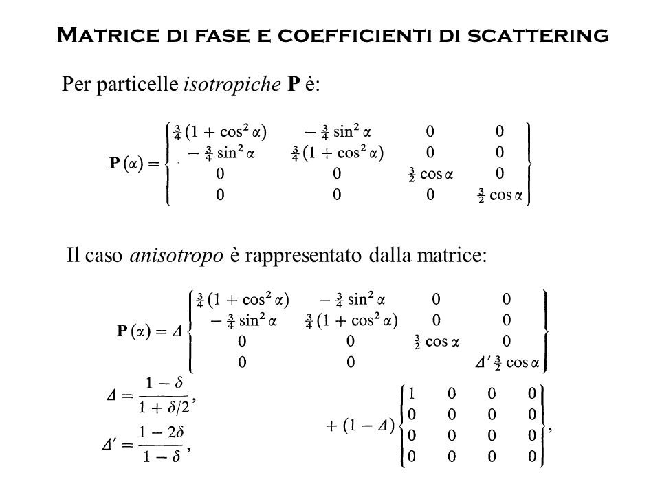 Matrice di fase e coefficienti di scattering