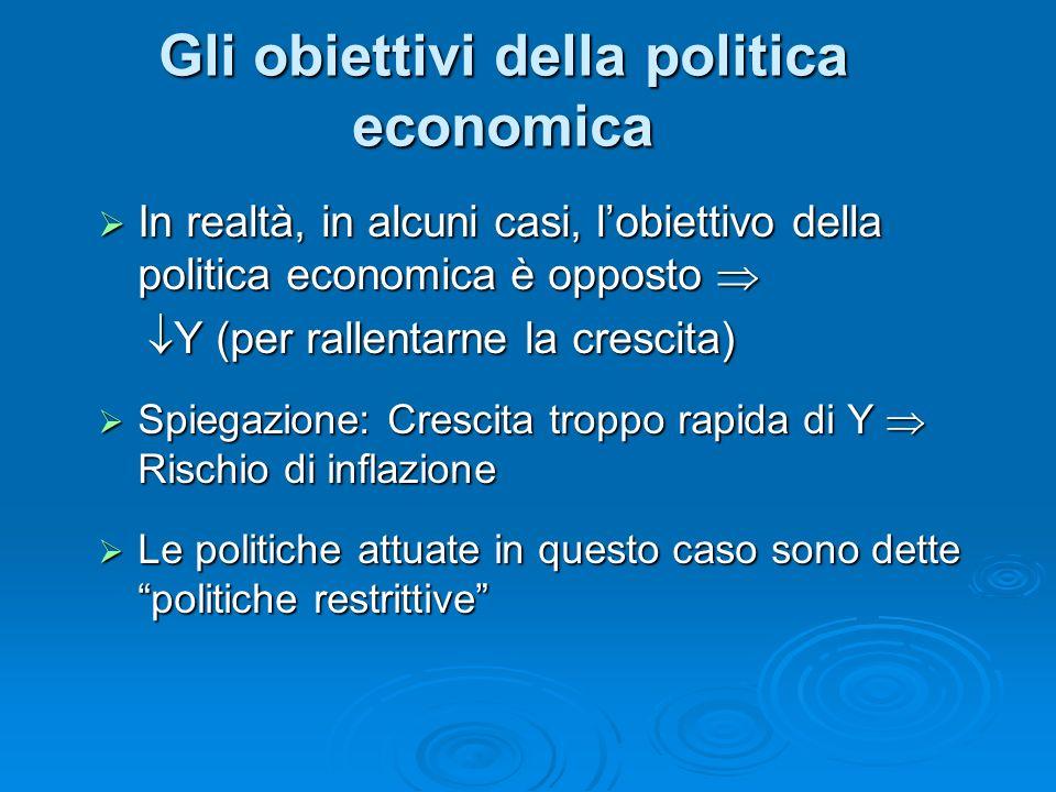 Gli obiettivi della politica economica