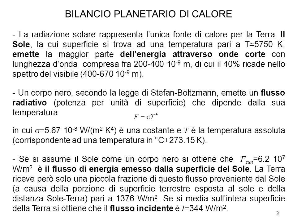 BILANCIO PLANETARIO DI CALORE