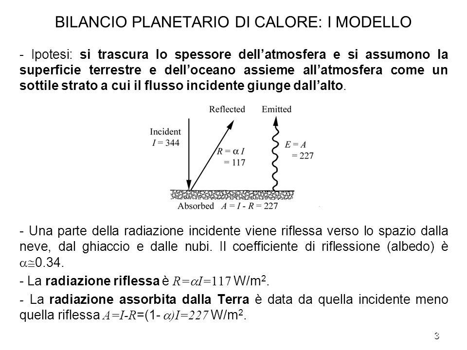 BILANCIO PLANETARIO DI CALORE: I MODELLO