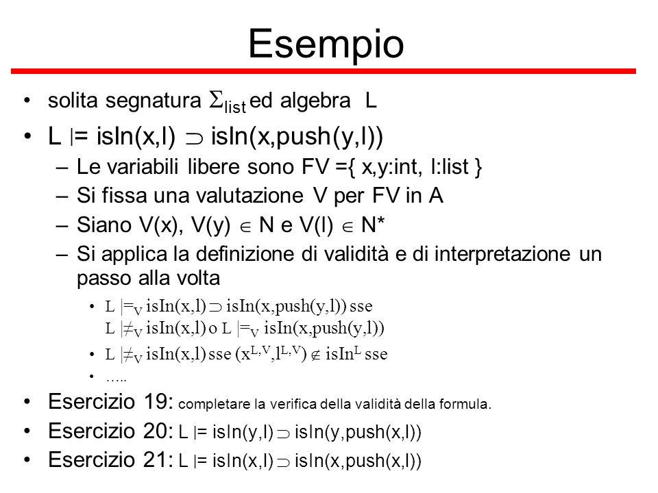 Esempio L |= isIn(x,l)  isIn(x,push(y,l))