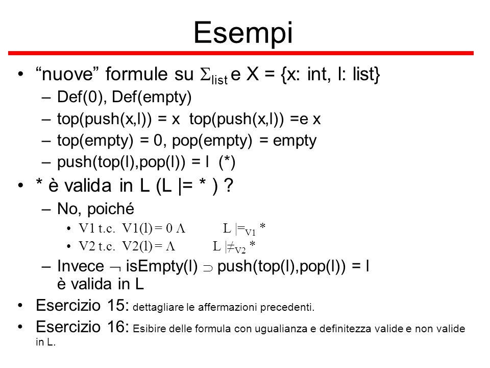 Esempi nuove formule su Slist e X = {x: int, l: list}