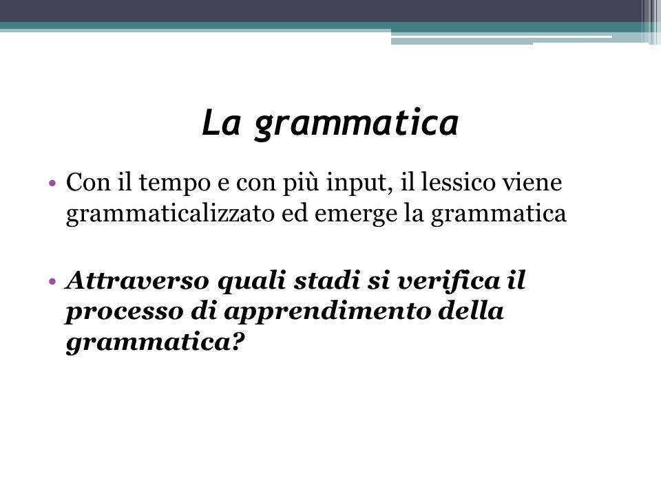 La grammatica Con il tempo e con più input, il lessico viene grammaticalizzato ed emerge la grammatica.