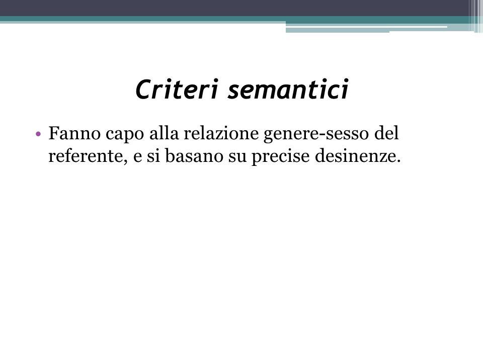 Criteri semantici Fanno capo alla relazione genere-sesso del referente, e si basano su precise desinenze.
