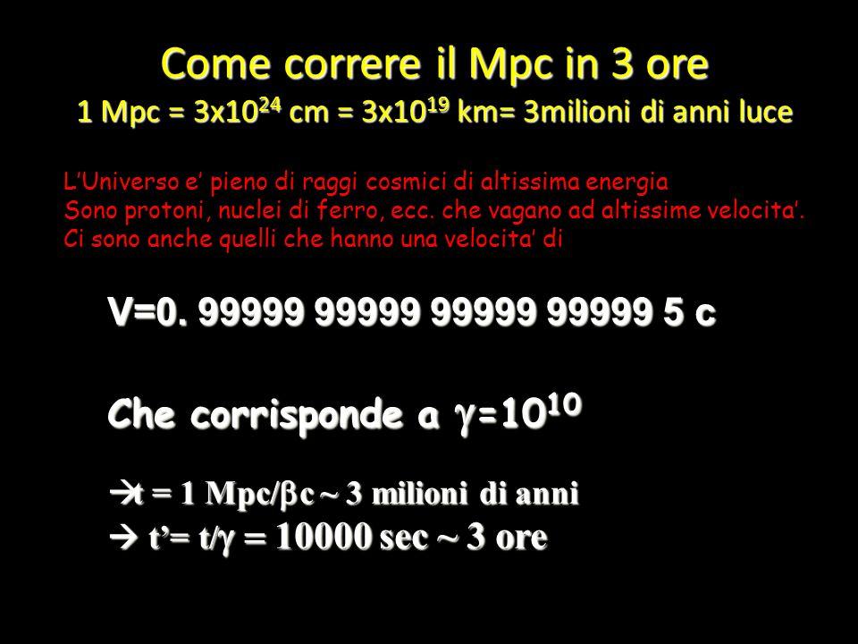 Come correre il Mpc in 3 ore 1 Mpc = 3x1024 cm = 3x1019 km= 3milioni di anni luce