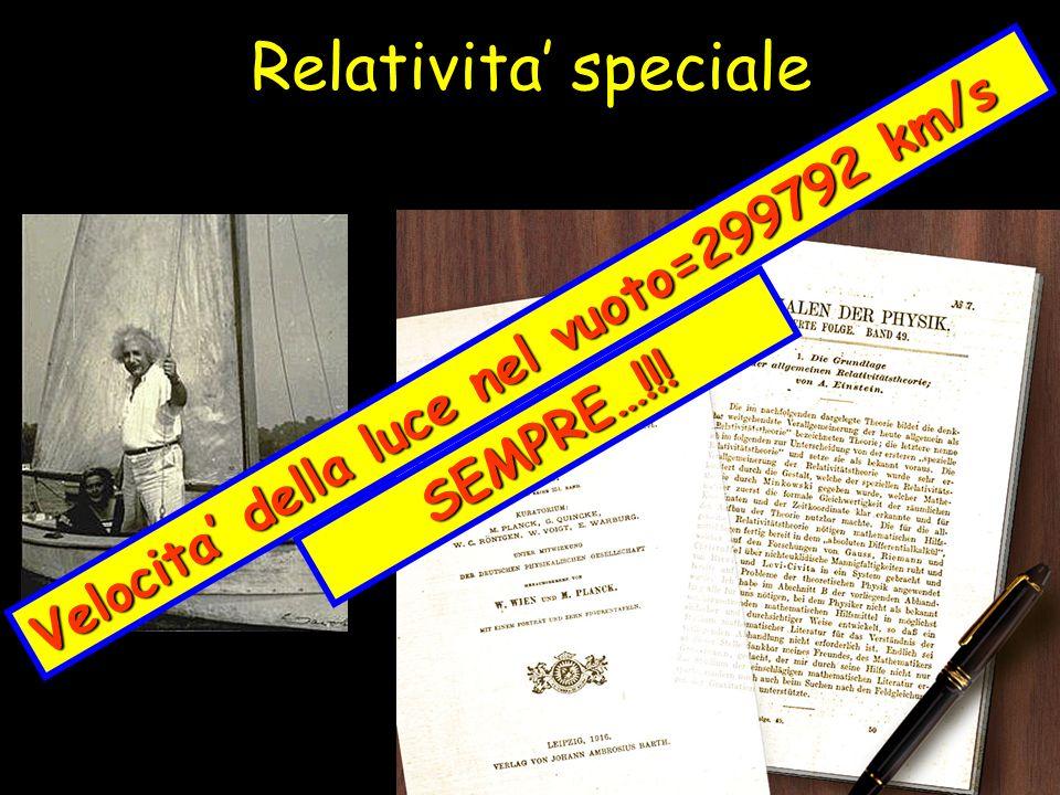 Relativita' speciale Velocita' della luce nel vuoto=299792 km/s