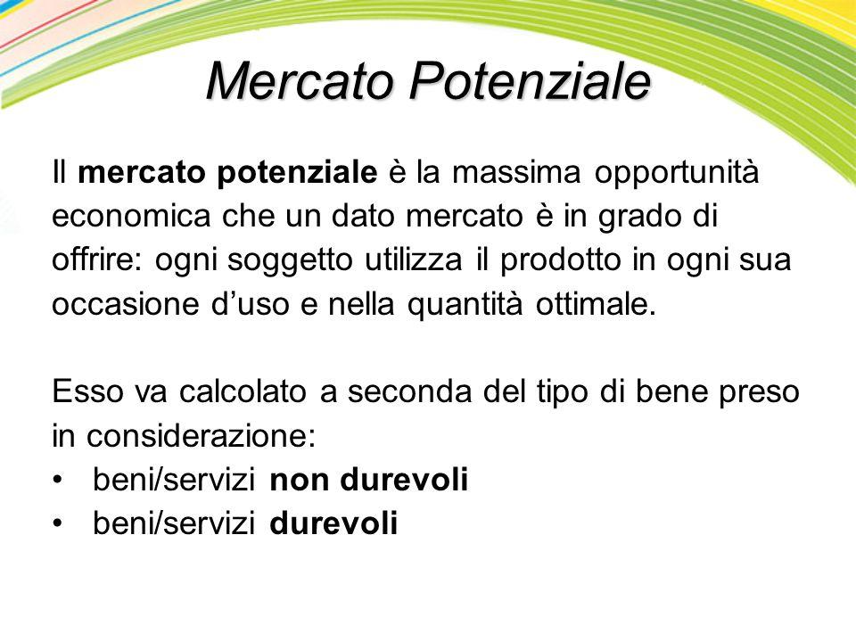 Mercato Potenziale Il mercato potenziale è la massima opportunità
