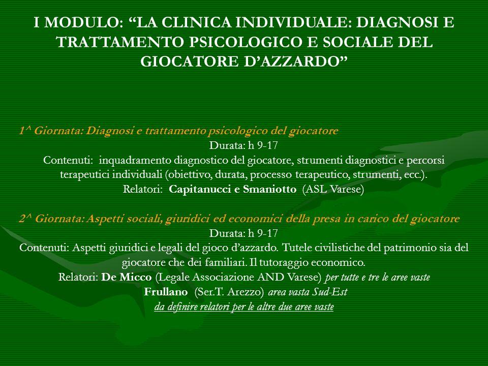 I MODULO: LA CLINICA INDIVIDUALE: DIAGNOSI E TRATTAMENTO PSICOLOGICO E SOCIALE DEL GIOCATORE D'AZZARDO