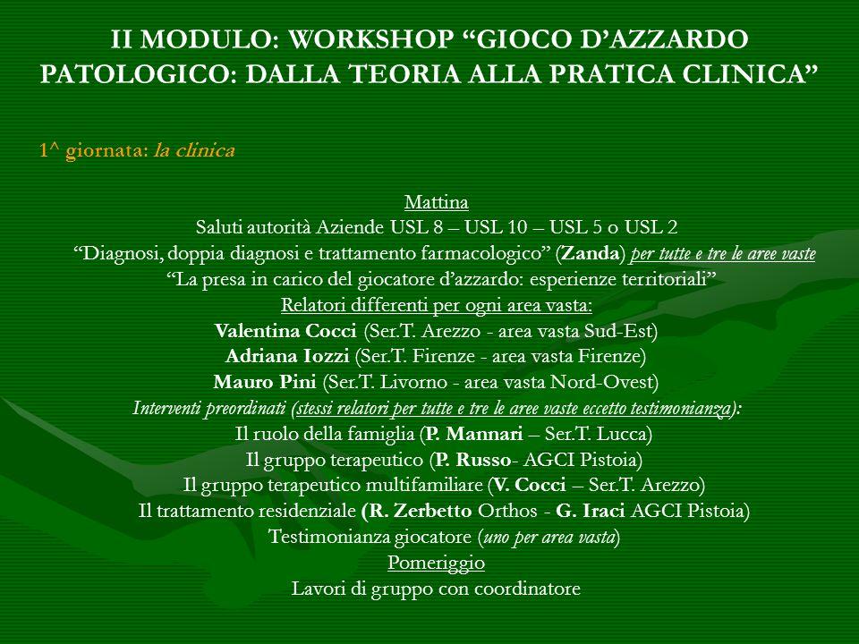 II MODULO: WORKSHOP GIOCO D'AZZARDO PATOLOGICO: DALLA TEORIA ALLA PRATICA CLINICA