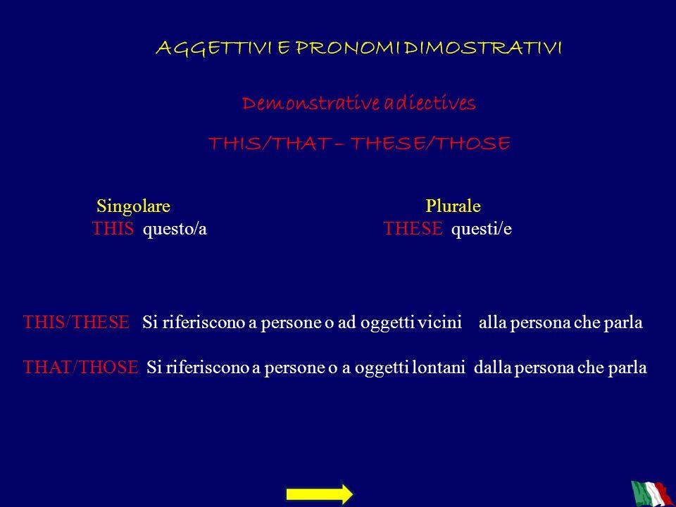AGGETTIVI E PRONOMI DIMOSTRATIVI Demonstrative adiectives