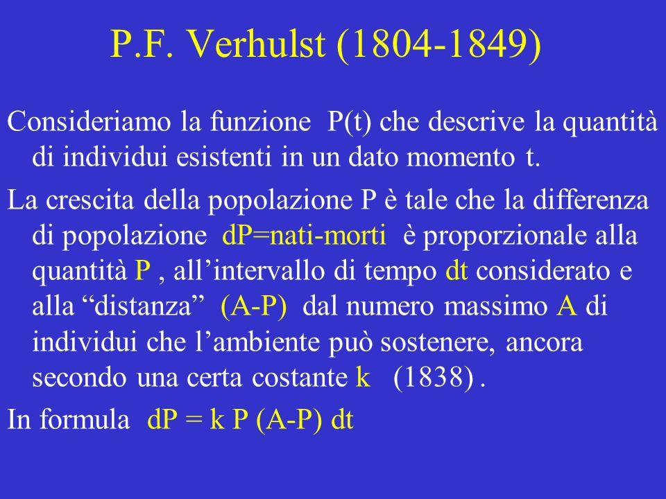 P.F. Verhulst (1804-1849) Consideriamo la funzione P(t) che descrive la quantità di individui esistenti in un dato momento t.