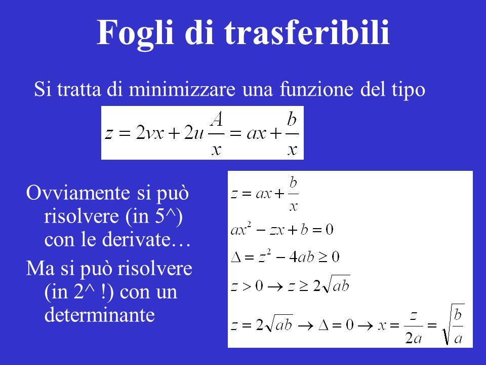 Fogli di trasferibili Si tratta di minimizzare una funzione del tipo