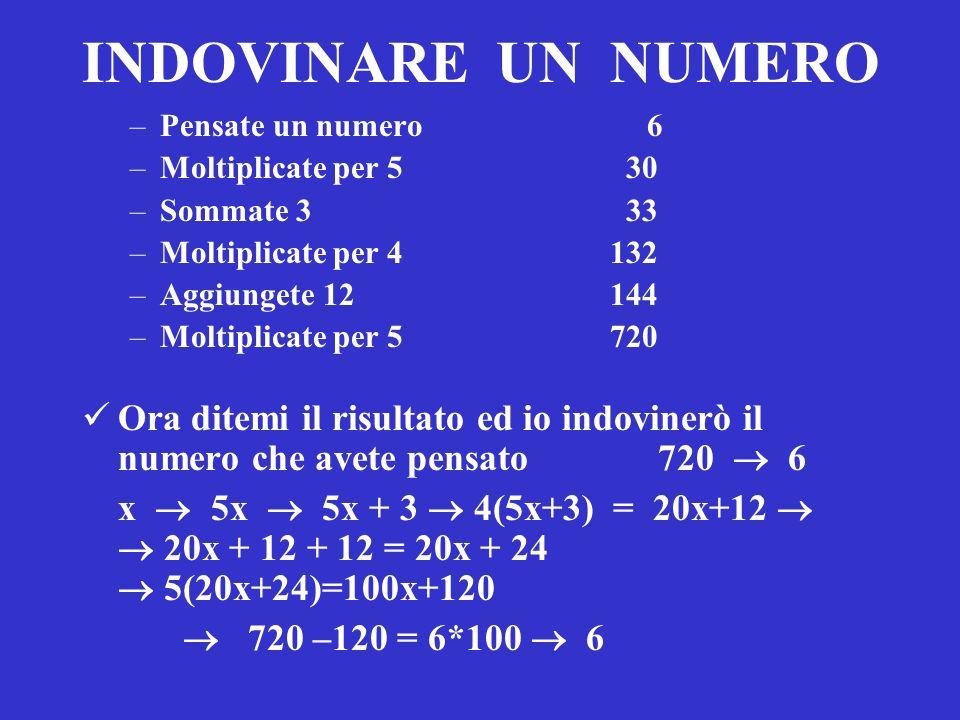 INDOVINARE UN NUMERO Pensate un numero 6. Moltiplicate per 5 30.