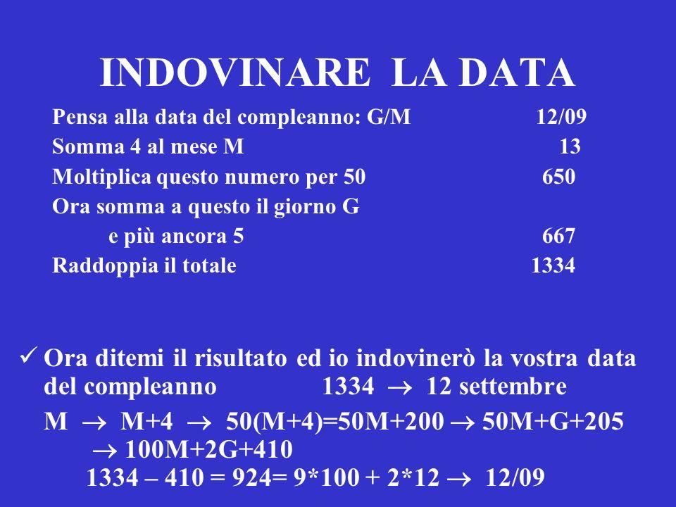 INDOVINARE LA DATA Pensa alla data del compleanno: G/M 12/09. Somma 4 al mese M 13.
