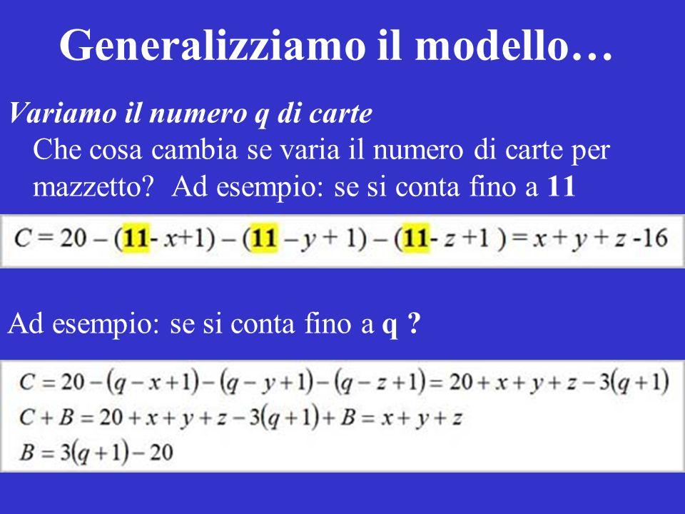 Generalizziamo il modello…