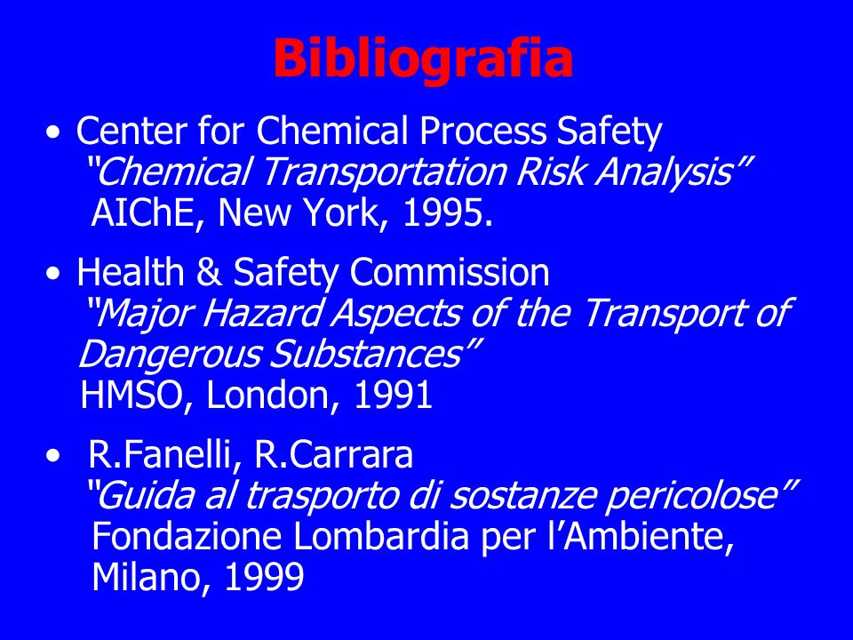 Bibliografia Center for Chemical Process Safety