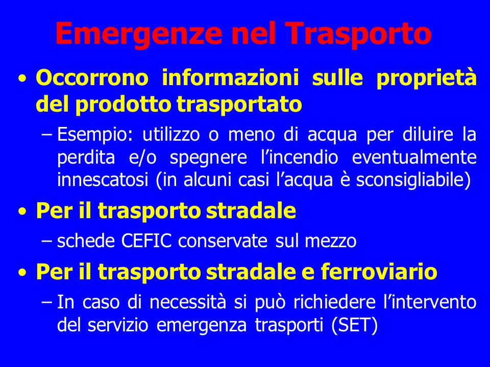 Emergenze nel Trasporto