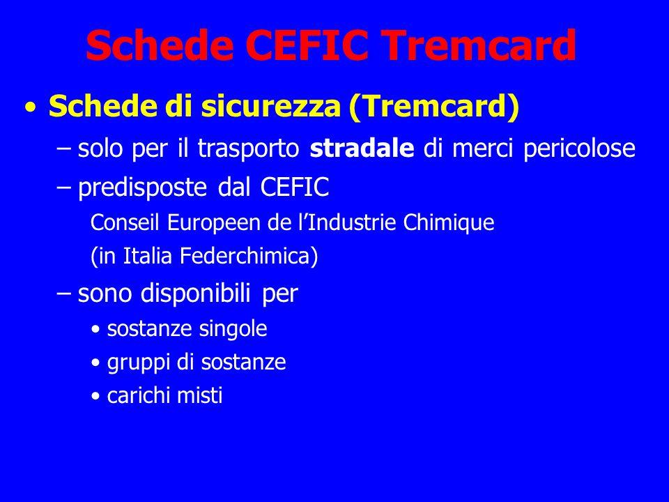 Schede CEFIC Tremcard Schede di sicurezza (Tremcard)