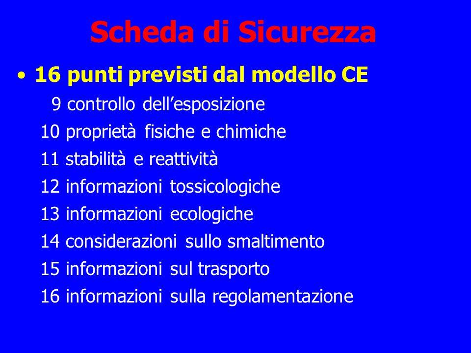 Scheda di Sicurezza 16 punti previsti dal modello CE