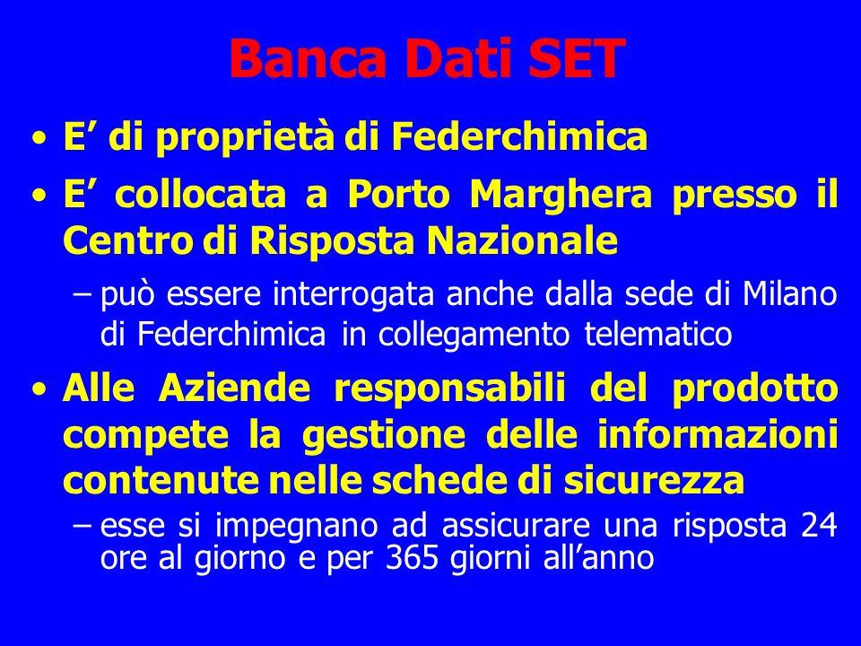 Banca Dati SET E' di proprietà di Federchimica