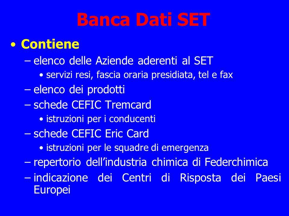 Banca Dati SET Contiene elenco delle Aziende aderenti al SET