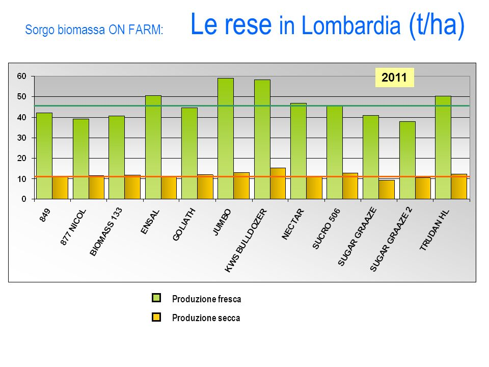 Sorgo biomassa ON FARM: Le rese in Lombardia (t/ha)