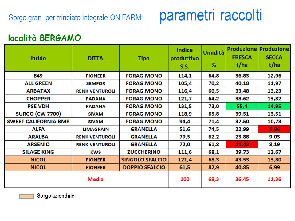Sorgo gran. per trinciato integrale ON FARM: parametri raccolti