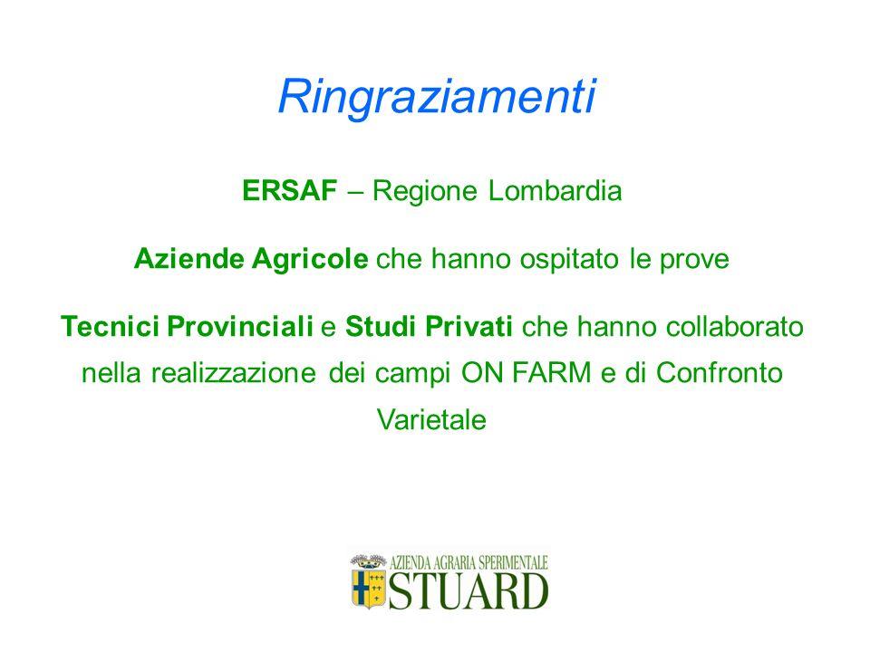 Ringraziamenti ERSAF – Regione Lombardia