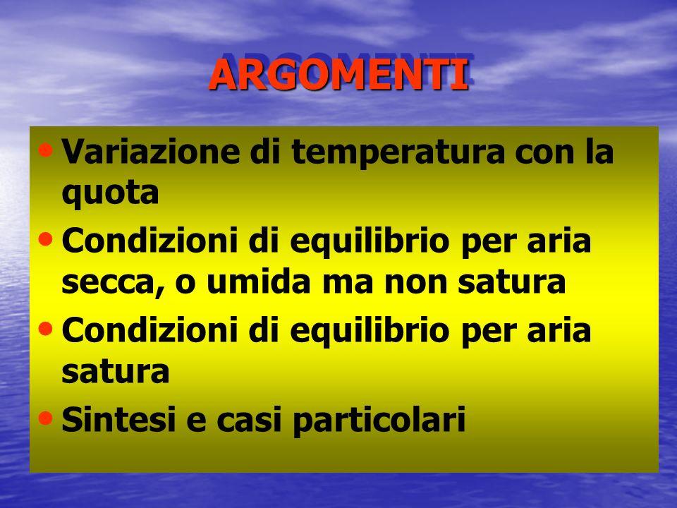 ARGOMENTI Variazione di temperatura con la quota