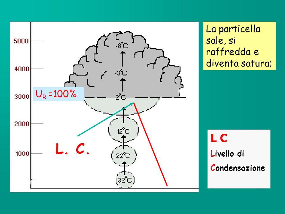 L. C. L C La particella sale, si raffredda e diventa satura; UR =100%