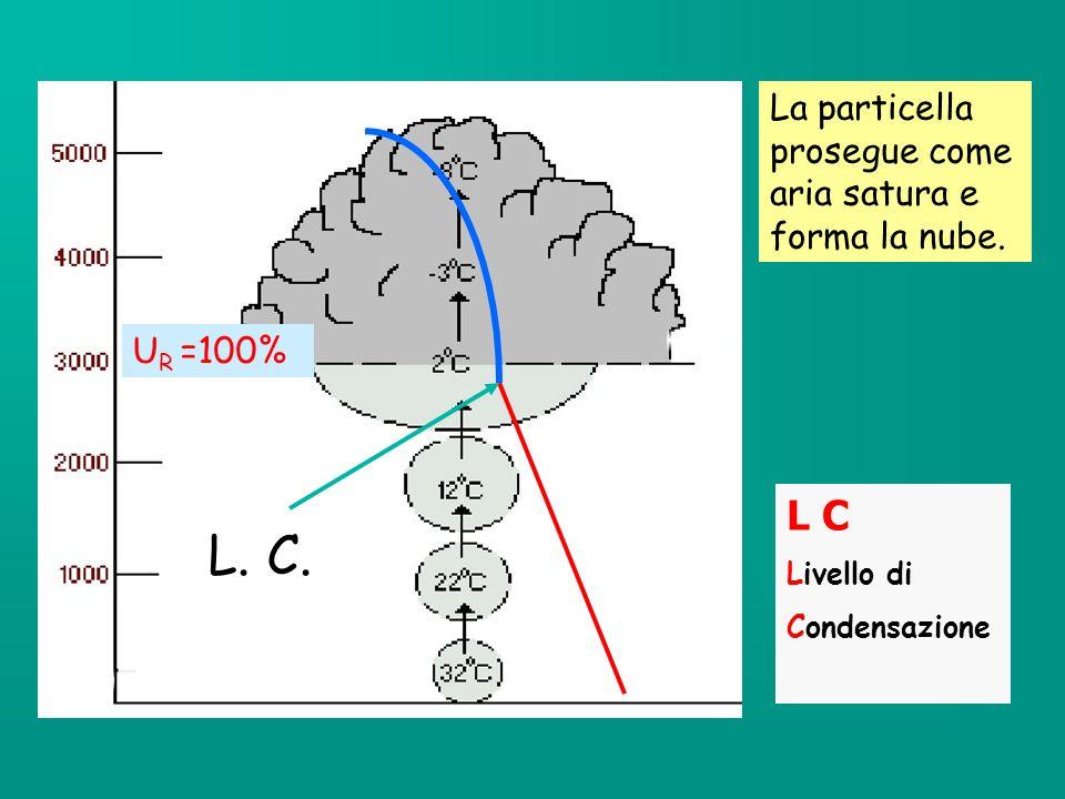 L. C. L C La particella prosegue come aria satura e forma la nube.